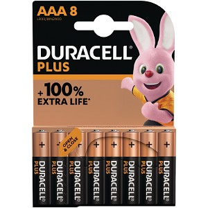 Pacco da 8 pile AAA Duracell Plus Power