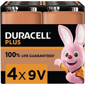 Pacco da 4 Duracell Plus Power 9v PP3