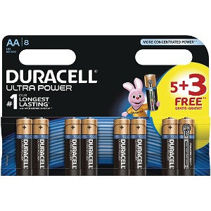 Image of Pacco di 5 pile Duracell Ultra Power AA + 3 Gratis (MX1500B5+3)