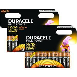2 Pacchi di Pile AAA Duracell Plus da 8 + 4 Gratis (MN2400-X24)